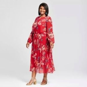 Ava &Viv long sleeve red floral midi dress size 3X